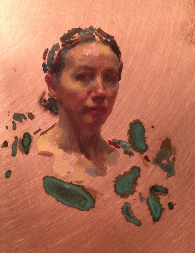 Kate Lehman Selfportrait 3/4 small copper 2016