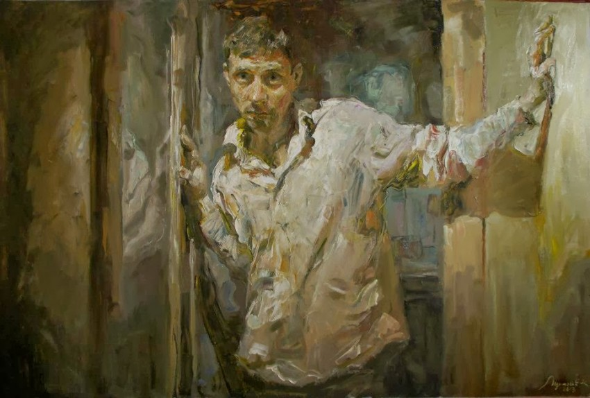 Kostya Lupanov Selfportrait in a doorway 2018