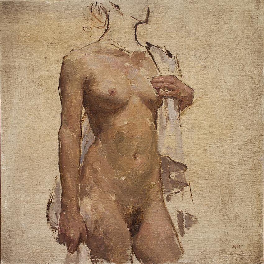 Travis Schlaht Nude White Drapery 2015