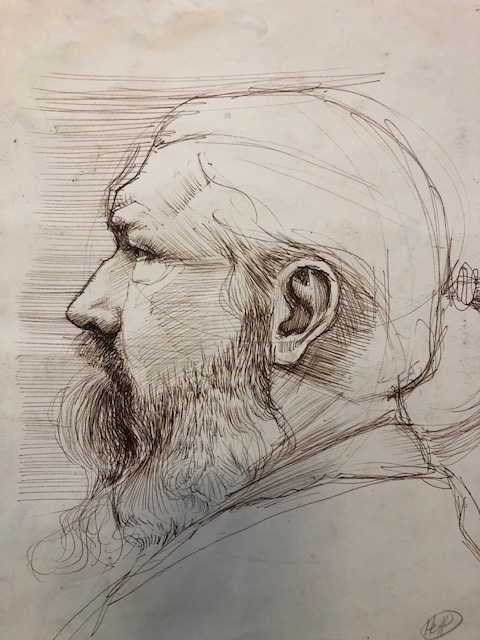 H Craig HANNA Etude de bearded man in profile 2019