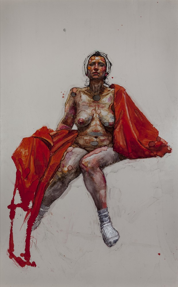 H Craig HANNA Woman with Red Sheet and White Turban 2017