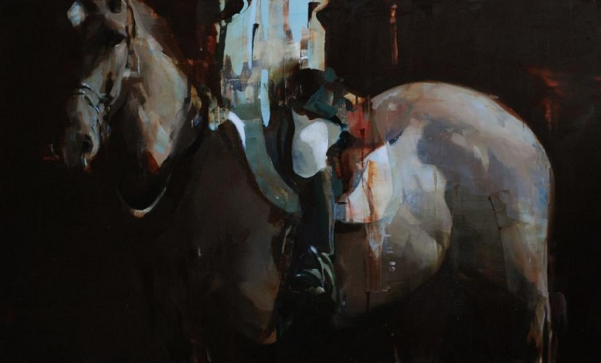 Alex Kanevsky Dark Horse with partial Rider 2011