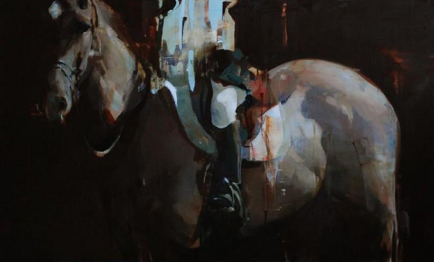Alex Kanevsky Dark Horse with partial Rider 2011