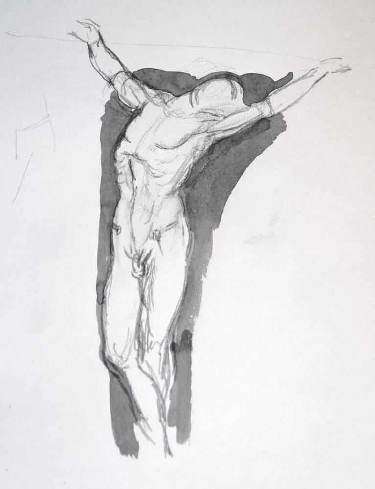 Adrien Eyraud Calvaire-étude-de-Christ-crayon-et-lavis-encre-30x24-2021 2021